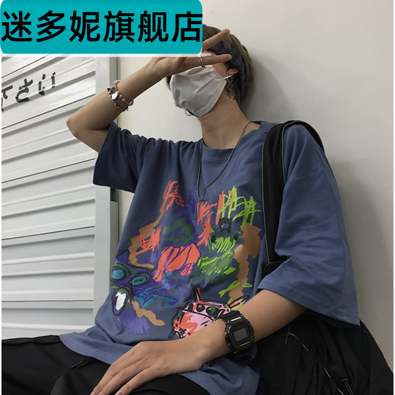 Summer 2020 new boys ins retro versatile loose printed womens short sleeve T-shirt loose and handsome T-shirt