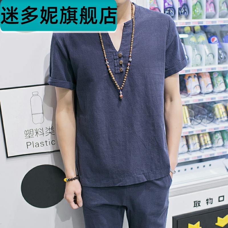 夏加肥大码棉麻布短袖V领T恤男9九分长裤一套亚麻料休闲两件套装