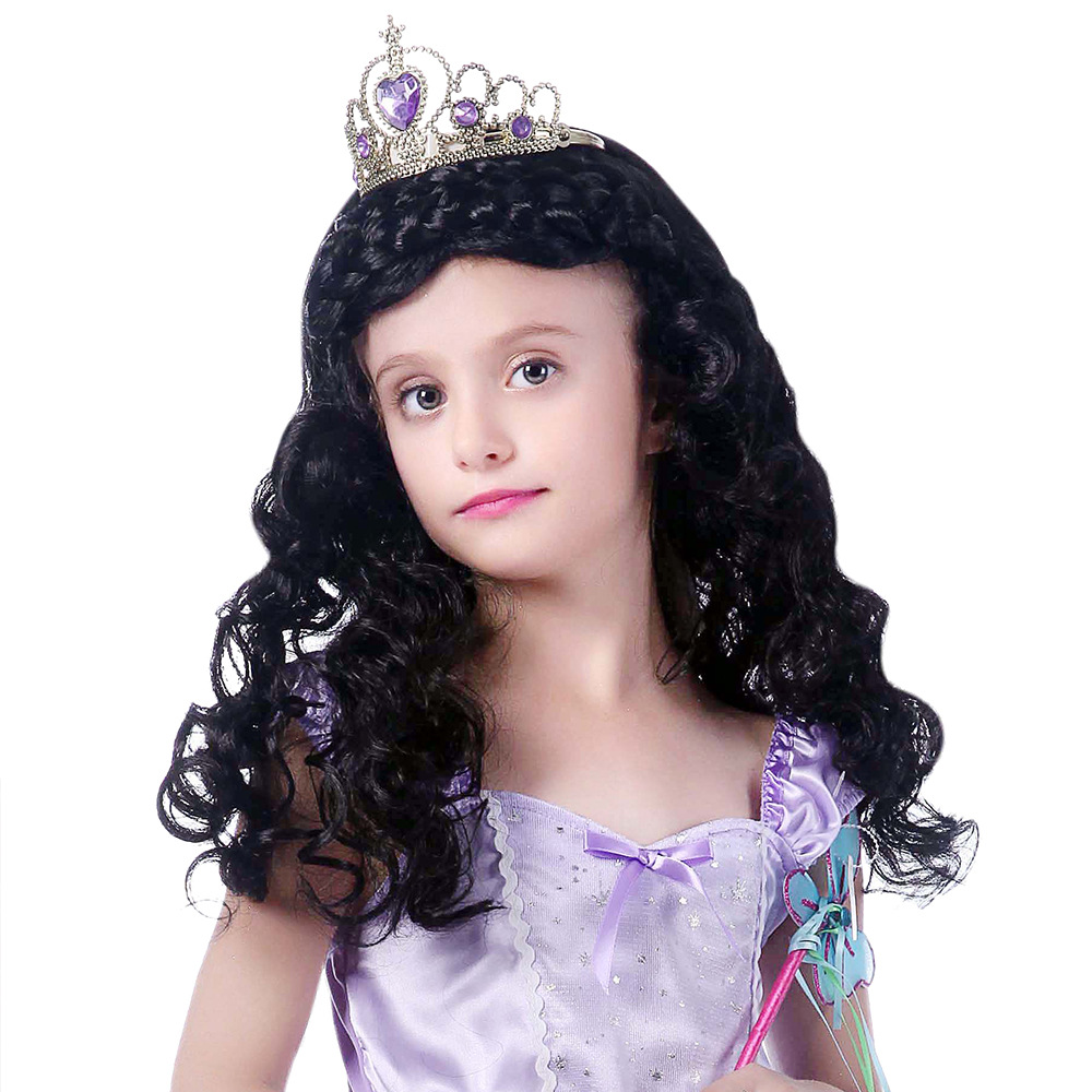 Halloween little princess cute hair knitting girl curly hair black wig children role play props party culture