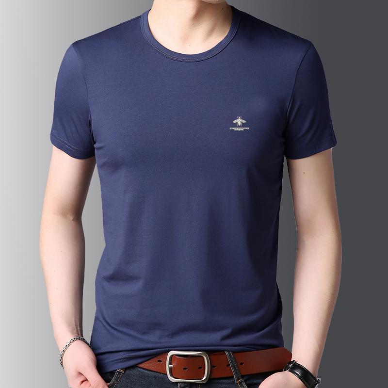 夏装莫代尔圆领t恤男士休闲中青年纯色简约有弹力短袖体恤上衣装