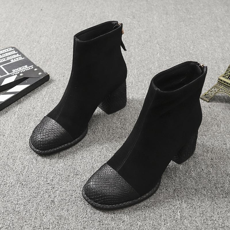 欧洲站2020秋冬新款女鞋圆头粗跟磨砂皮高跟鞋复古短靴百搭马丁靴