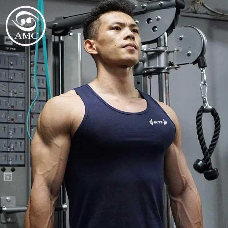 2020 mens summer new sports casual breathable vest elastic slim tight fitness sleeveless T-shirt vest