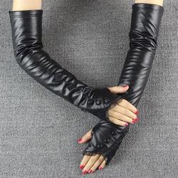 正品2019新款开车皮手套女冬季真皮袖套长款手臂套半指水貂花
