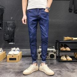 男士休闲裤学生小清新款纯色K01款xz314A-2K01蓝色P17