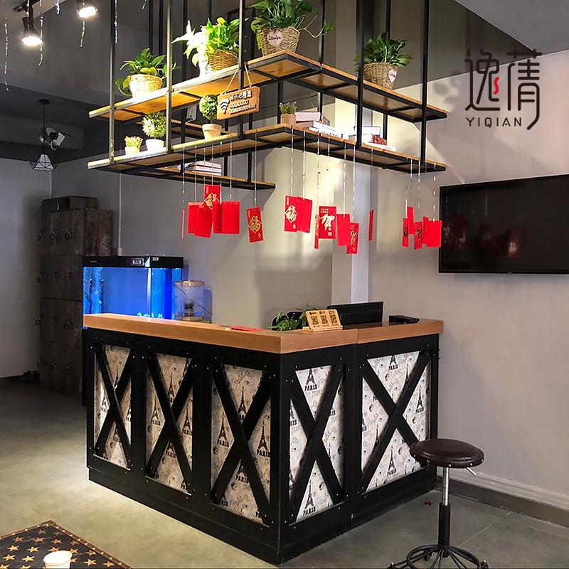 工业风休闲吧台咖啡厅奶茶店餐厅收银台面包食品店大理石台面定制