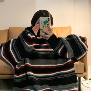 韩版秋冬新款宽松条纹高领毛衣女学生学院风拼色百搭针织上衣潮