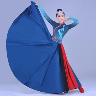 新款蒙古族演出服女装鸿雁舞蹈服装蒙古袍成人少数民族表演服天边