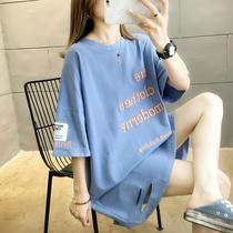 2020年夏装新款韩版大码胖mm短袖t恤女宽松遮肚上衣中袖中长款桖