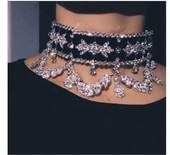 欧美ins2019新品个性水钻提花绒布项链ожерелье