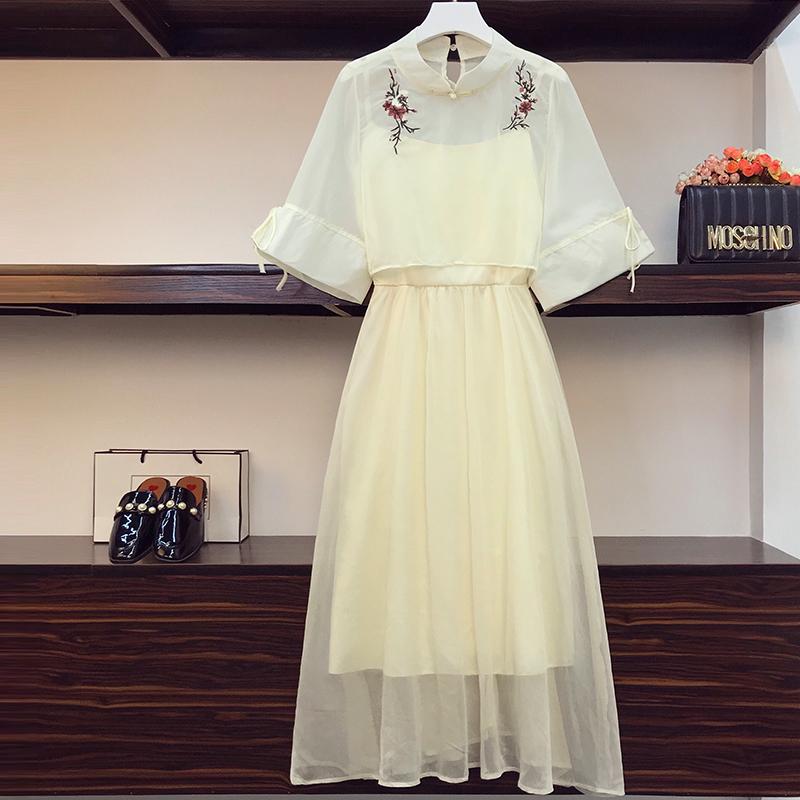 实拍大码女装2021夏装改良版汉服女连衣裙中国风减龄显瘦套装