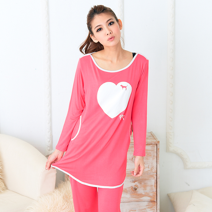 Super thin! Love pink simple solid color womens modal long sleeve spring and summer pajamas womens suit home clothes
