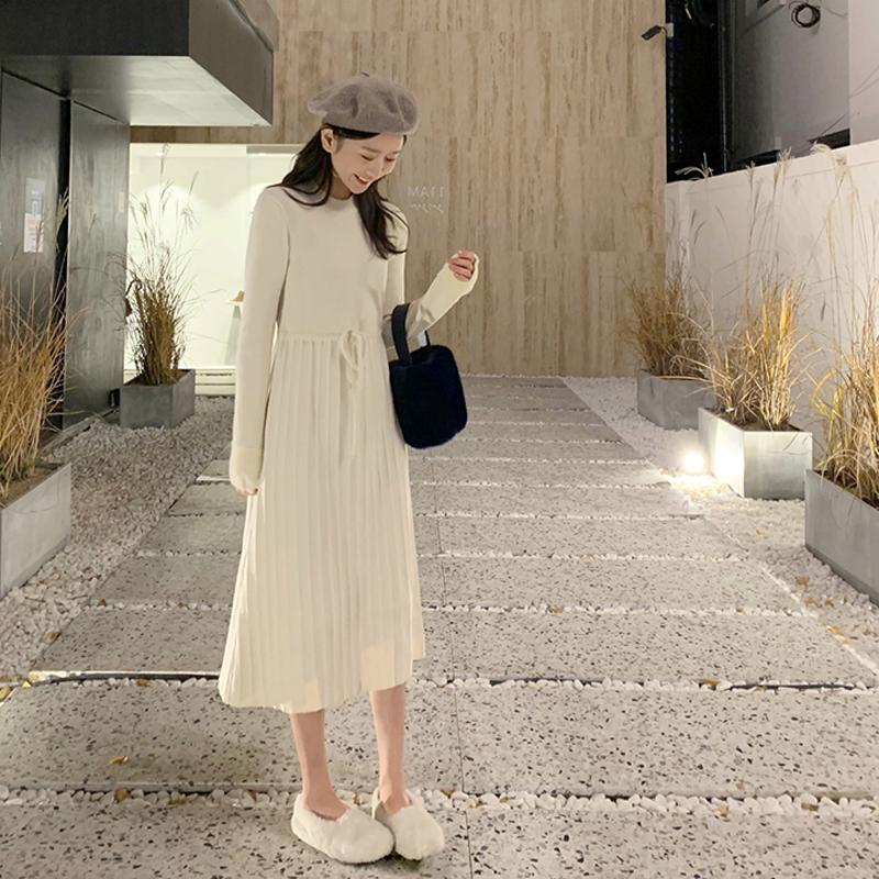 连衣裙针织复古很仙秋冬季新款小个子内搭打底裙过膝中长款配大衣