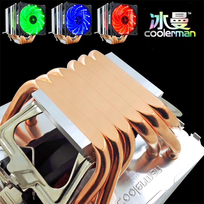 冰曼 6热管CPU散热器超静音1155AMD1150 1151台式电脑CPU风扇2011