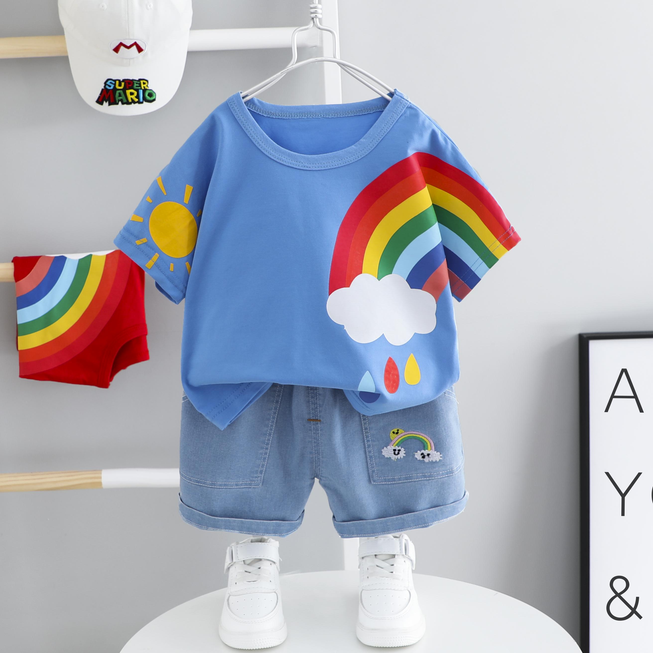 童装男童短袖套装夏装2021年新款洋气儿童T恤裤子夏季韩版女宝宝
