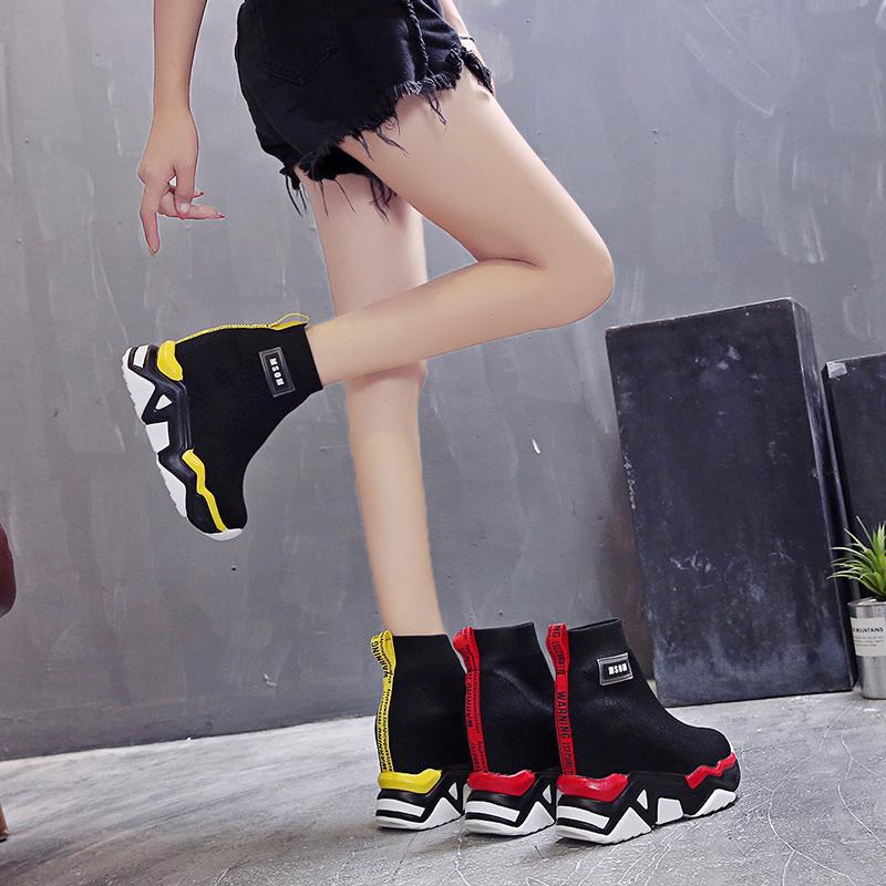 加绒帅气马丁靴女酷夏季高帮欧美个性袜靴内增高厚底网红瘦瘦靴潮