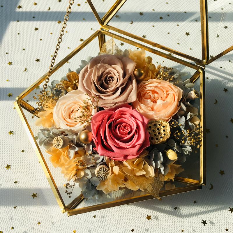 永生花礼盒玻璃花房摆件康乃馨保鲜玫瑰干花生日520情人节礼物不包邮