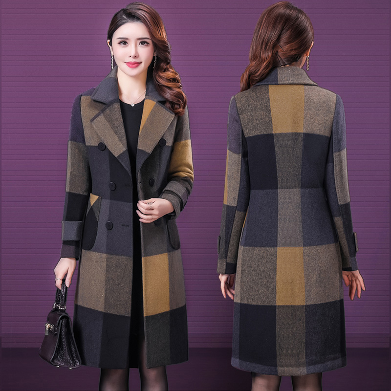 中老年妈妈装秋冬毛呢外套阔太太洋气修身加厚中长款羊毛大衣女装