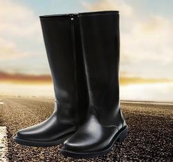 新款秋冬长筒靴仪仗队靴子升旗手高筒靴男女靴马靴潮流皮靴机车靴
