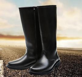 新款秋冬長筒靴儀仗隊靴子升旗手高筒靴男女靴馬靴潮流皮靴機車靴圖片