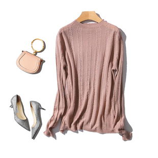 展露天鹅颈特别好搭配 优雅气质 显瘦坑条绞花舒适羊毛针织打底衫