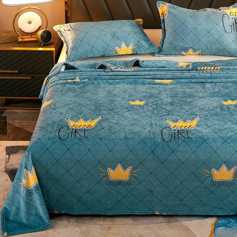 加厚法兰绒床单家用单件单双人冬季保暖珊瑚绒毛毯被单双面绒毯。