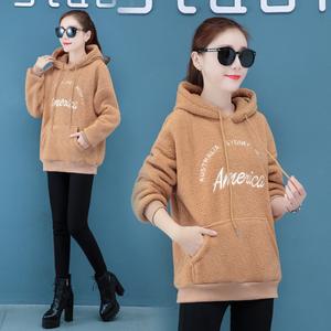 新款加绒加厚羊羔毛卫衣女2019冬季新款韩版宽松连帽保暖外套女装