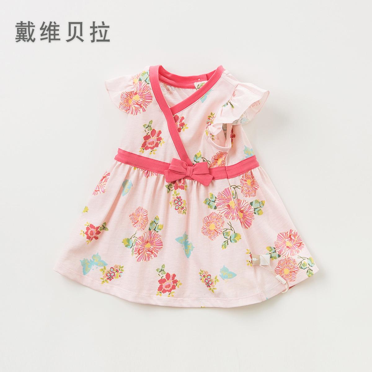戴维贝拉davebella女童连衣裙 夏装2019新款粉色花朵甜美公主裙包邮