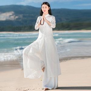 中式复古改良旗袍棉麻夏民族连衣裙
