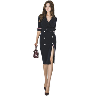 上班族顯瘦氣質職業西裝裙2019秋裝新款女裝收腰V領雙排扣連衣裙