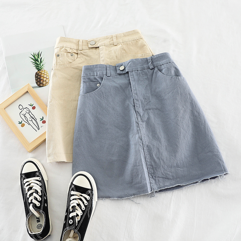 H747高腰ins韩系小清新糖果色高腰显瘦包臀牛仔布磨边半身裙短裙(非品牌)
