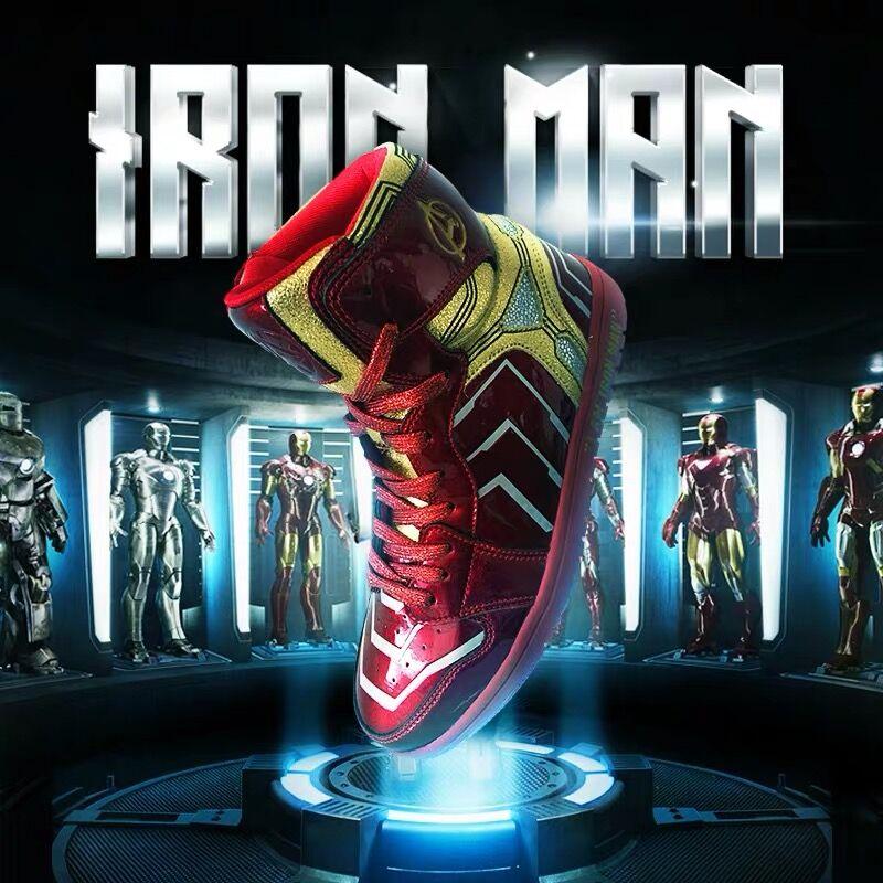 Original customized Avenger alliance iron man co branded fashion shoes man man around AJ high top board shoes basketball