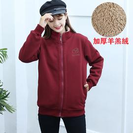 冬季新款厚卫衣加绒加厚女宽松韩版不带帽学生羊羔绒外套拉链开衫