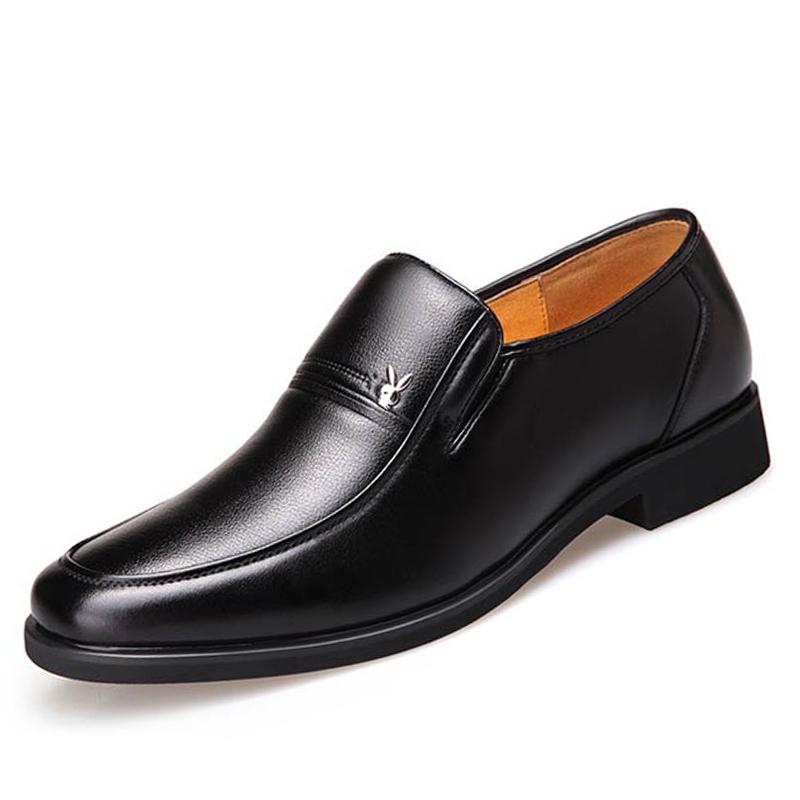 冬季男士皮鞋男真皮正装内增高男鞋黑色商务休闲加绒保暖爸爸鞋子