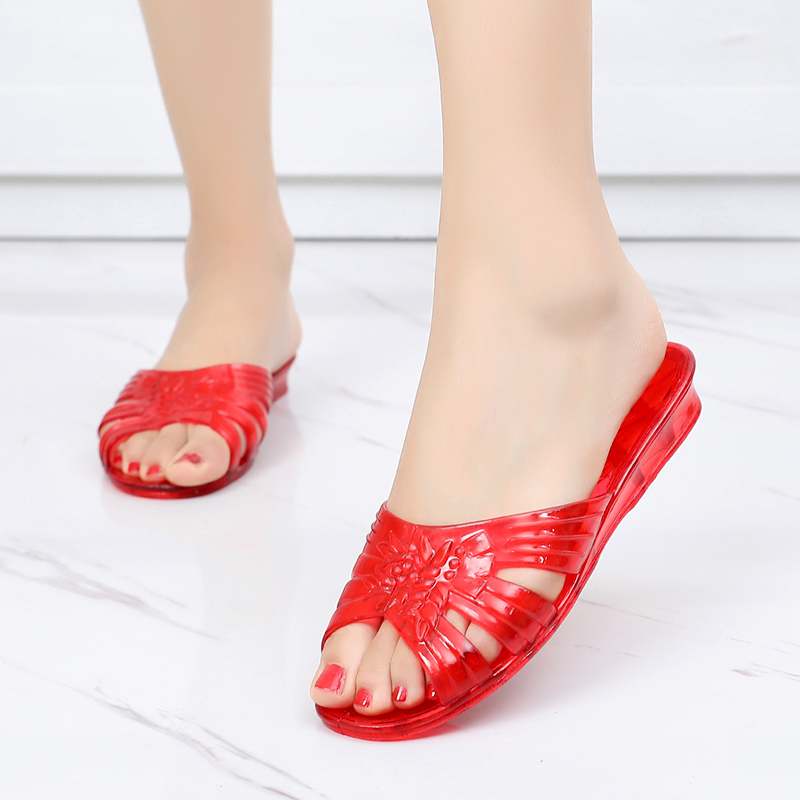 Crystal sandals womens plastic old-fashioned simple nostalgic 80s retro jelly shoes wear anti-skid soft sole outside in summer