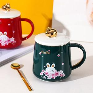 创意樱花兔子陶瓷马克杯女士杯子咖啡杯水杯带盖勺家用办公女生杯