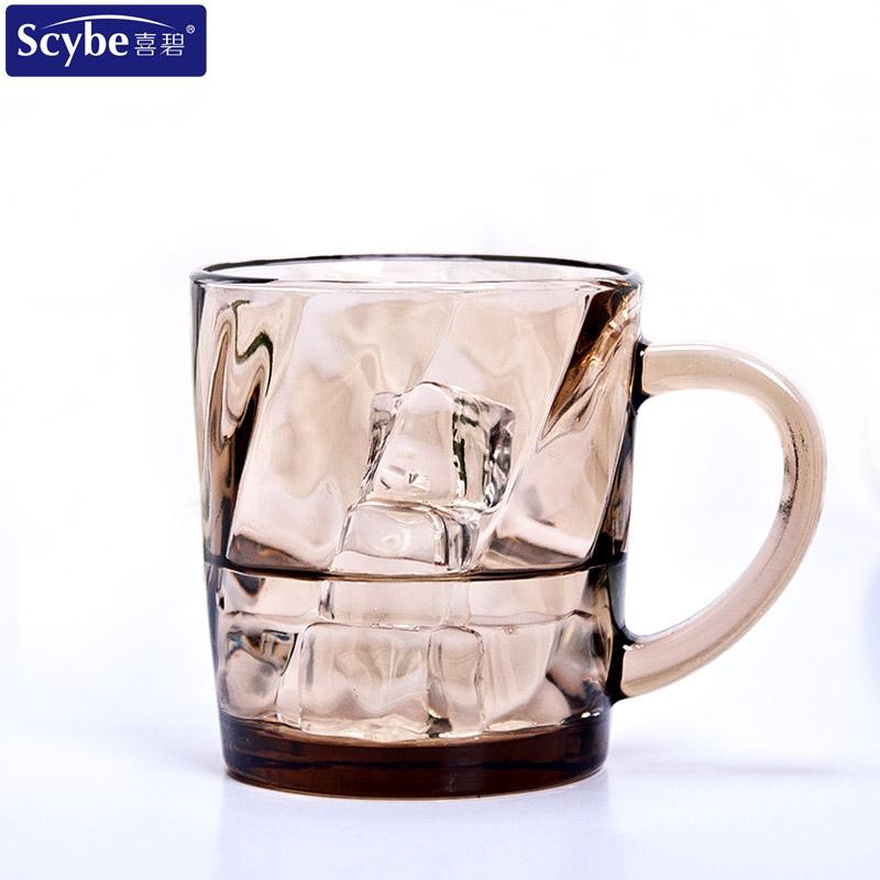 Scybe喜碧彩色玻璃杯水杯班吉把手杯创意杯子耐热泡花茶杯咖啡杯