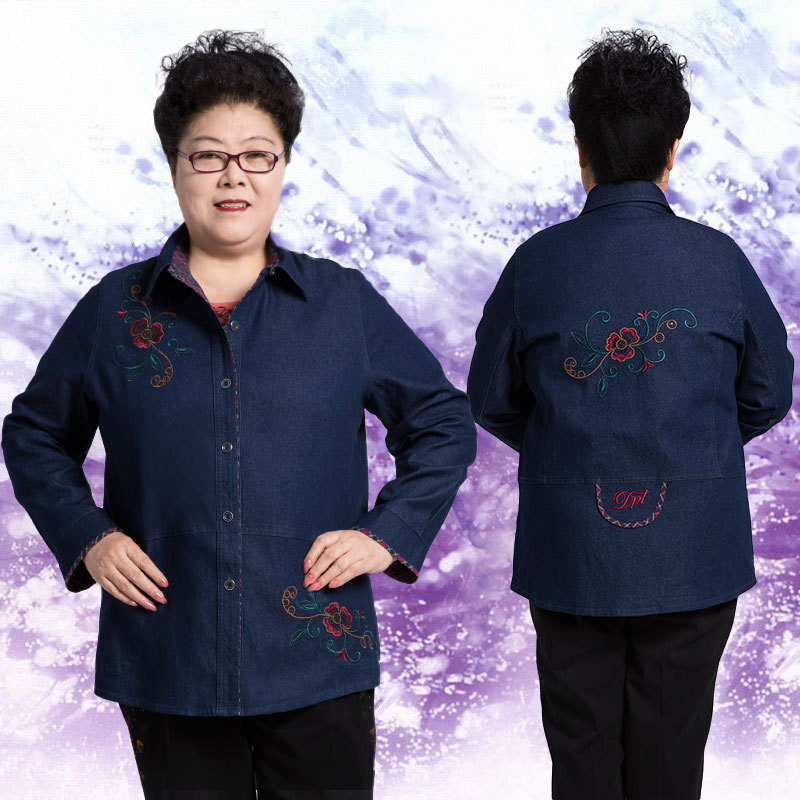 Middle aged and elderly extra large spring and autumn womens clothes plus fat jeans shirt 200kg fat wife mother embroidered coat