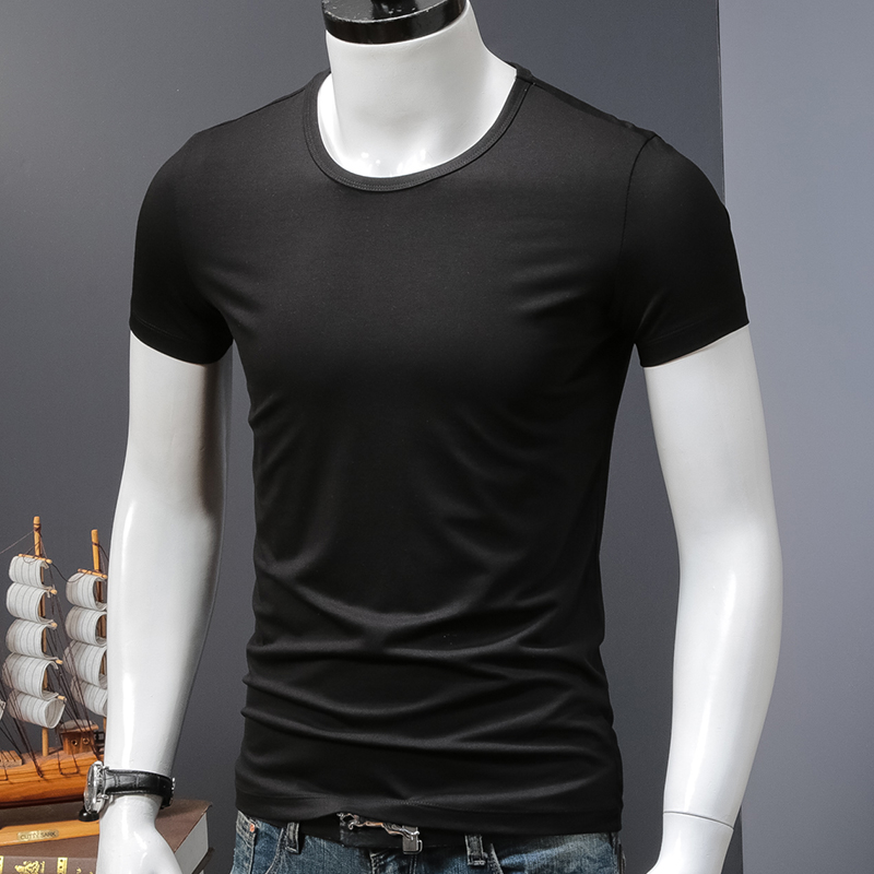 2件】莫代尔短袖t恤男士圆领夏季纯色紧身上衣服修身黑色半袖运动券后65.00元