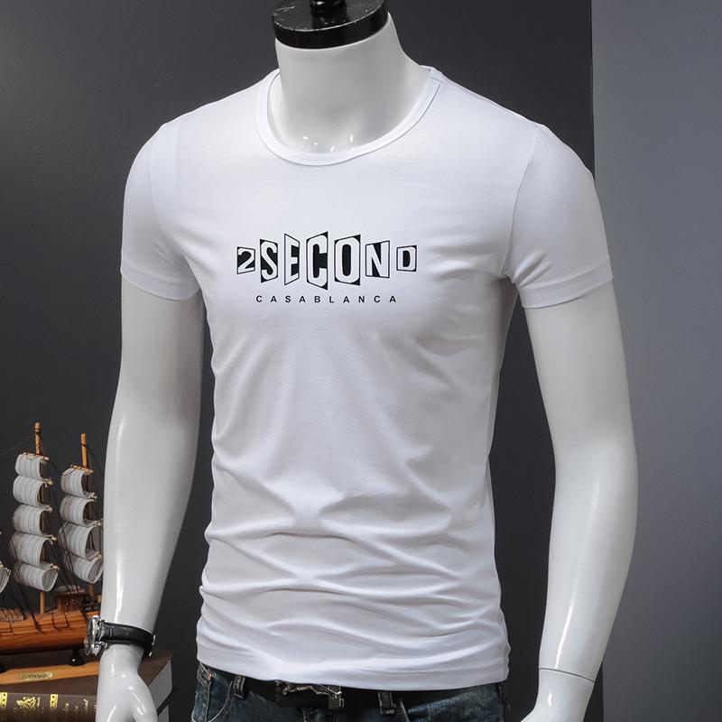 11月26日最新优惠夏季莫代尔短袖t恤男士冰丝圆领潮流上衣服紧身印花韩版半袖修身