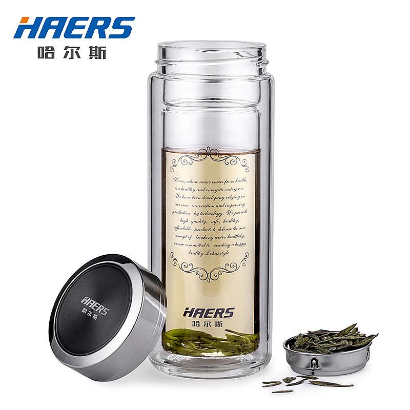 哈爾斯玻璃杯便攜帶蓋雙層隔熱茶杯水杯耐熱泡茶辦公杯帶濾網茶杯