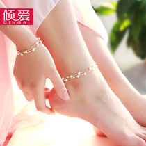 Pour love double-decker foot chain female sterling Silver Korean version Simple student Sen department girlfriend Sexy fresh transfer delivery girl Gift