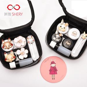 隐形近视眼镜盒女韩国可爱简约便携伴侣双联影形收纳美瞳护理盒子