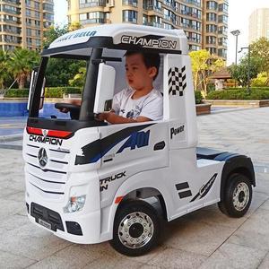 奔驰卡车头可坐人儿童电动车四轮遥控玩具车广场出租充电动卡车头
