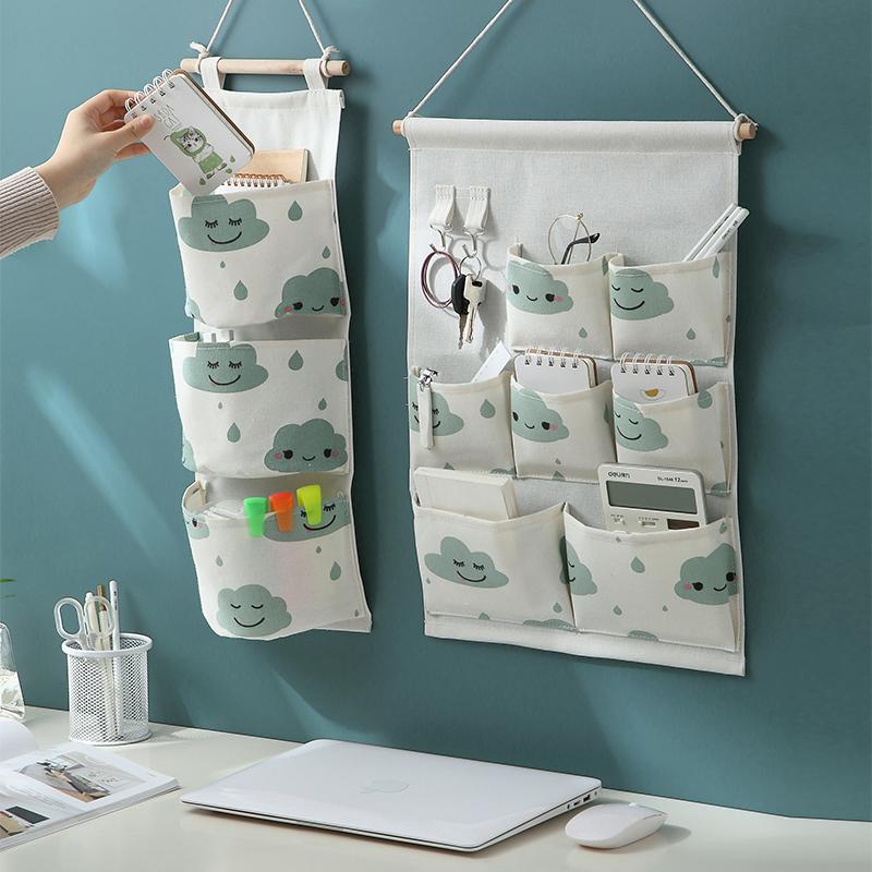 挂墙收纳袋挂袋墙挂式门后墙上置物架神器壁挂储物袋子小布袋布艺