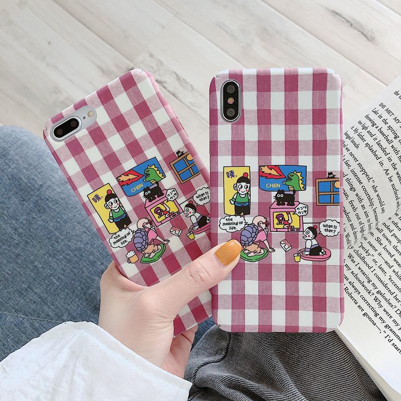 格子纹卡通oppoReno手机壳女款oppoK3磨砂a59硬R15/R17/K111月28日最新优惠