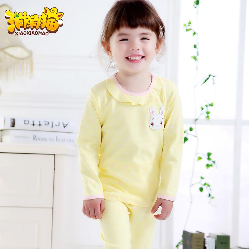 女童寶寶睡衣秋 花邊領子長袖嬰兒內衣純棉套裝 春秋家居服
