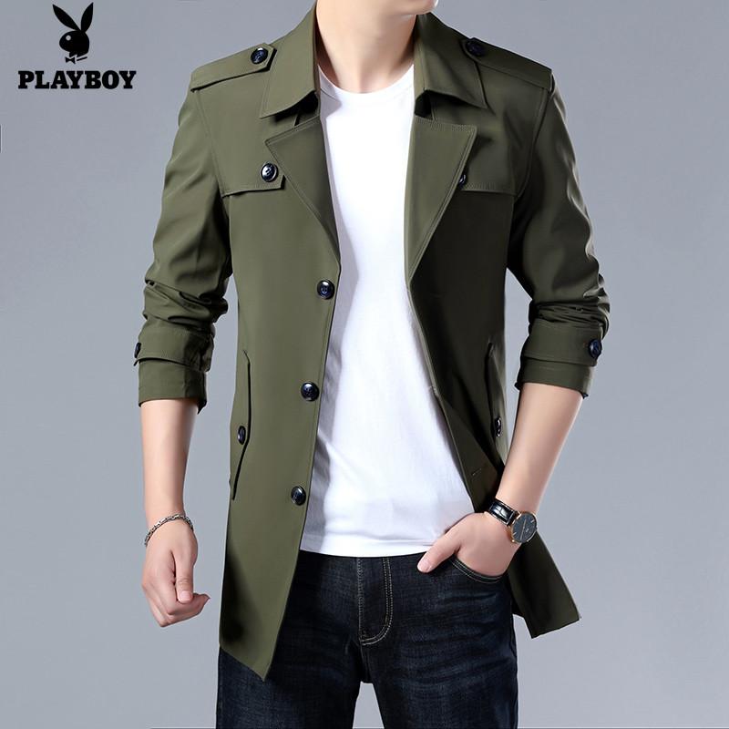 花花公子风衣男士外套秋冬季新款夹克休闲韩版中长款上衣潮流男装