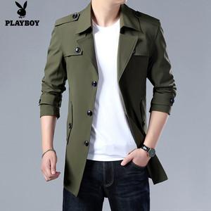 花花公子风衣男士外套春秋季新款夹克休闲韩版中长款上衣薄款男装