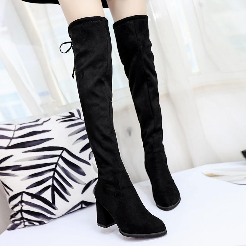 女鞋秋冬季2017新款百搭高筒靴女过膝长靴粗跟高跟瘦瘦靴加绒女靴