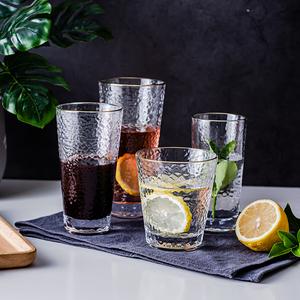 日式金边玻璃杯加厚锤纹水杯女ins风创意家用牛奶杯果汁杯饮料杯
